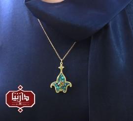 آویز فیروزه کوب گل