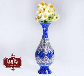 گلدان مسي ميناکاري شده ارتفاع 25 سانتي متر