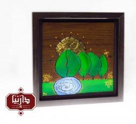 نقاشی روی چوب باغ رضوان