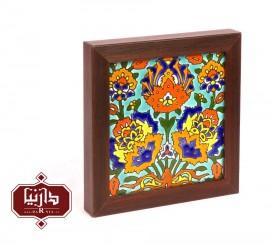 قاب کاشی هفت رنگ طرح گل شاه عباسی