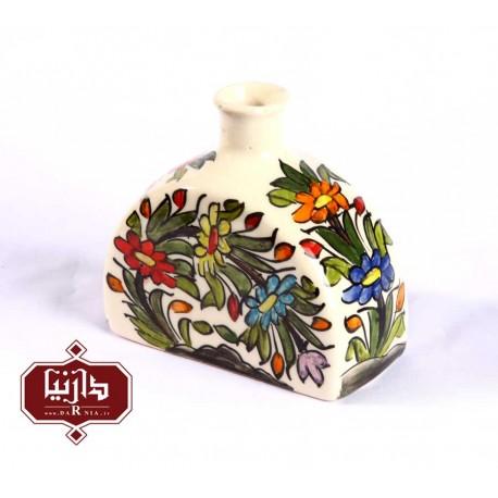 گلدان سرامیکی هلال طرح گل و سبزه