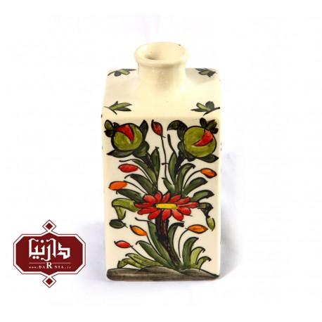 گلدان سرامیکی مربعی طرح گل و سبزه