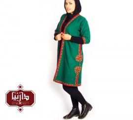 تن پوش ترکمن رنگ سبز طرح1