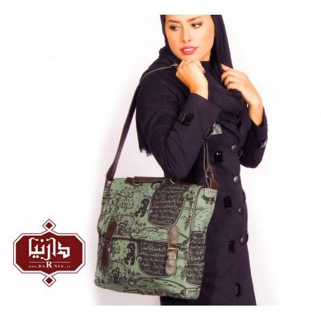 کیف دوشی بند چرمی فرفره رنگی