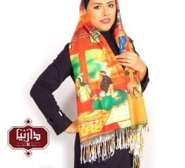 شال نخی چاپ دیجیتال زن قاجار