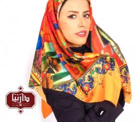 روسری ساتن چاپ دیجیتال طرح زن قاجار