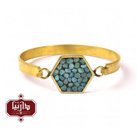 دستبند-فیروزه-کوب-شش-ضلعی