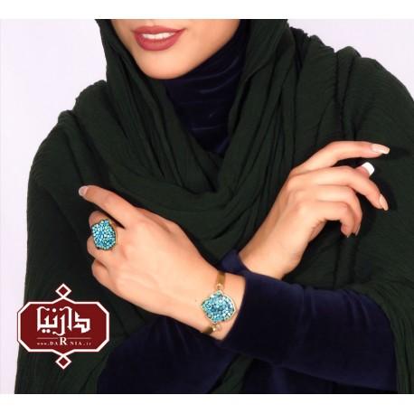 دستبند فیروزه کوب شش ضلعی