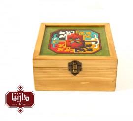 جعبه چوبی طرح ماری گل سایز متوسط