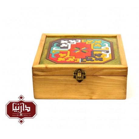 جعبه چوبی طرح ماری گل سایز بزرگ