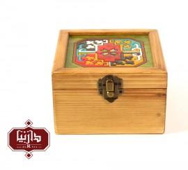 جعبه چوبی طرح ماری گل سایز کوچک