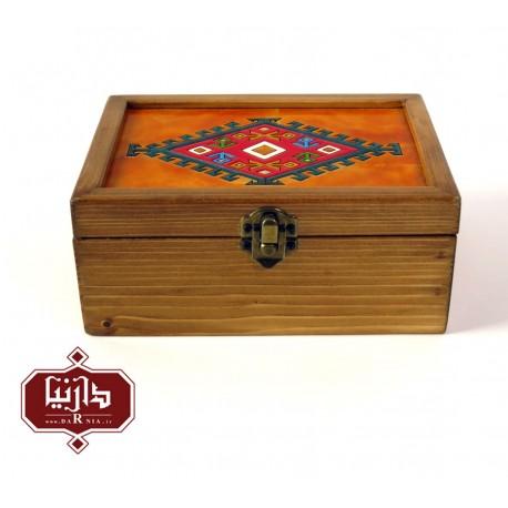 جعبه چوبی طرح ترکمن سایز بزرگ