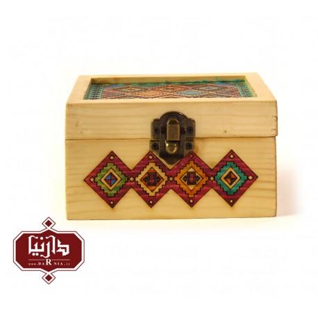 جعبه چوبی طرح ترکمن سایز کوچک