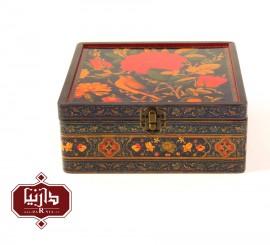 جعبه چوبی طرح گل و مرغ سایز بزرگ