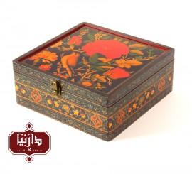 جعبه چوبی طرح گل و مرغ