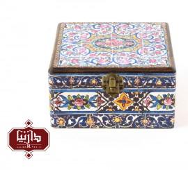 جعبه چوبی طرح گل سرخ سایز متوسط