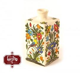 گلدان سرامیکی مربعی طرح گل و پرنده