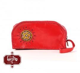 کیف آرایش چرم طبیعی سوزندوزی ترکمن