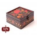 جعبه چوبی طرح گل و مرغ سایز متوسط