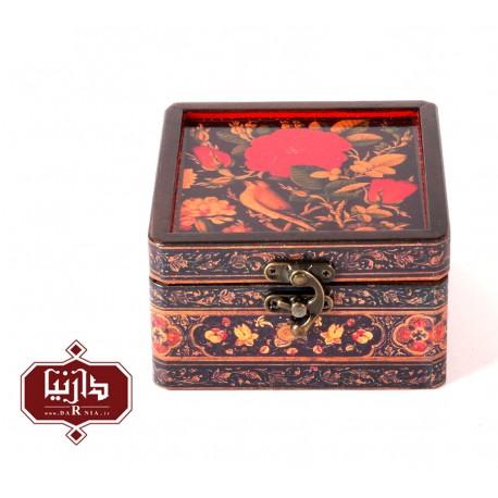 جعبه چوبی طرح گل و مرغ سایز کوچک