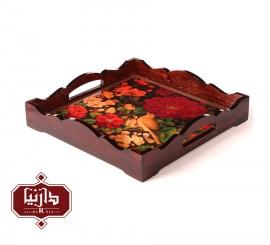 سینی چوبی مربع طرح گل و مرغ