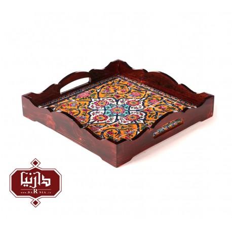 سینی چوبی مربع طرح سنتی