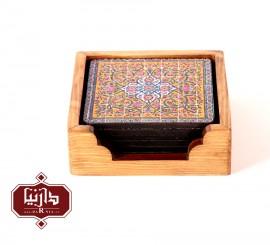 زیر لیوانی چوبی 6 عددی طرح سنتی