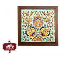 تابلو کاشی مربع طرح گل شاه عباسی