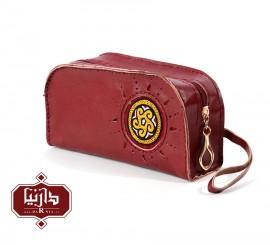 کیف چرم طبیعی زرشکی با سوزندوزی ترکمن