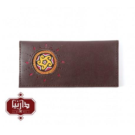 کیف پول چرم طبیعی قهوه ای با سوزندوزی ترکمن