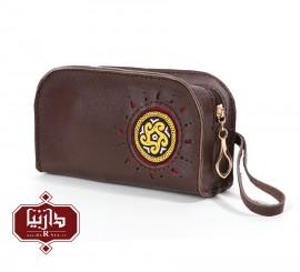 کیف آرایش چرم طبیعی قهوه ای با سوزندوزی ترکمن