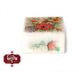 جعبه سنگ مرمر اثر بابايي طرح گل ومرغ سايز 10 × 10 سانتي متر طرح1