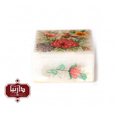 جعبه سنگ مرمر اثر بابايي طرح گل ومرغ سايز 10 × 10 سانتي متر