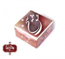جعبه سنگ مرمر اثر بابايي طرح خوشنویسی سخن عشق سايز 10 × 10 سانتي متر