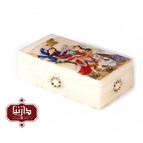 جعبه سنگ مرمر اثر بابايي طرح مینیاتور دو چهره سايز 20 × 10 سانتي متر