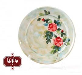 بشقاب سرامیکی گالری ناب قطر 26 سانتي متر طرح گل سرخ