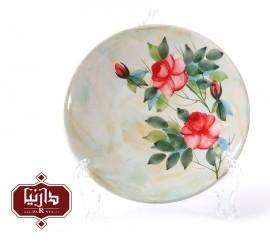بشقاب سرامیکی گالری ناب قطر 20 سانتي متر طرح گل سرخ