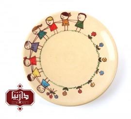 بشقاب سفالی گالری تکوک قطر 18سانتي متر طرح کودک