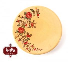 بشقاب سفالی گالری تکوک قطر 18 سانتي متر طرح گل