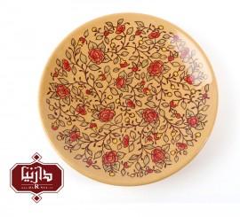 بشقاب سفالی گالری تکوک قطر 25 سانتي متر طرح گل