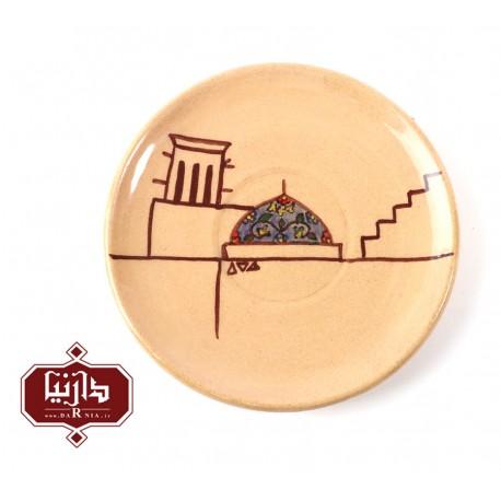 بشقاب سفالی گالری تکوک قطر 12 سانتي متر طرح بافت قدیم