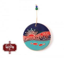 آویز سرامیکی گالری ناب قطر 8 سانتي متر طرح ماهی 2