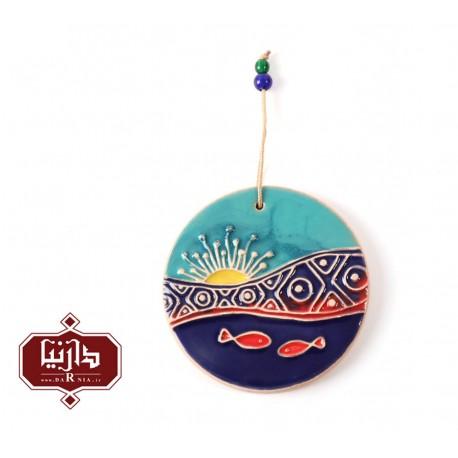 آویز سرامیکی گالری ناب قطر 8 سانتي متر طرح ماهی 3