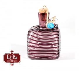 بطری شیشه ای کوچک گالری آبین طرح مکعب نوار منظم رنگ بنفش