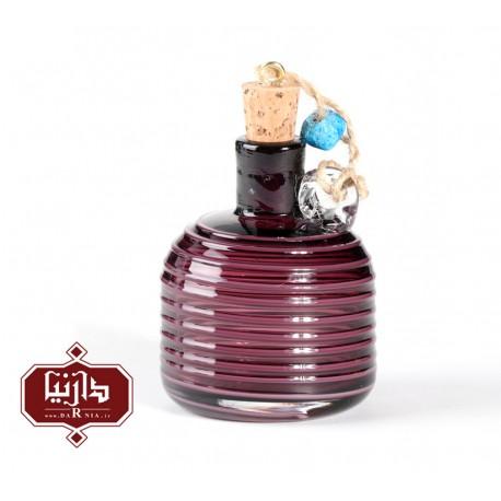بطری شیشه ای کوچک گالری آبین طرح استوانه نوار منظم رنگ بنفش