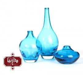 گلدان شیشه ای کوچک گالری آبین طرح سالونگ آبی شفاف مجموعه سه عددی
