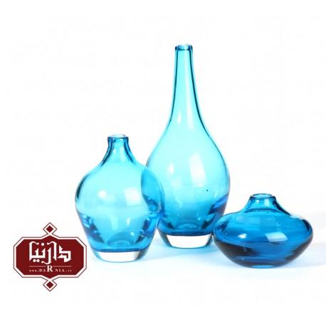 گلدان شیشه ای کوچک گالری آبین طرح سالونگ بنفش شفاف مجموعه سه عددی