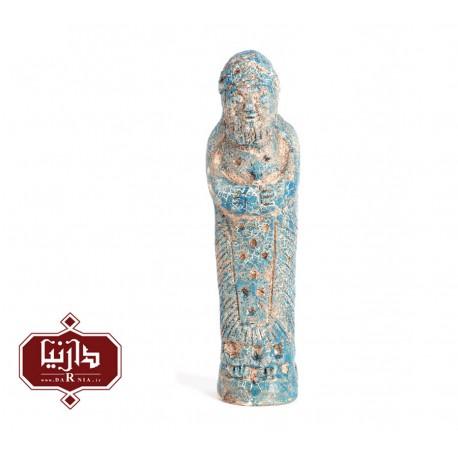 مجسمه سفالی لعاب فیروزه طرح تندیس خدای مرد ایلامی