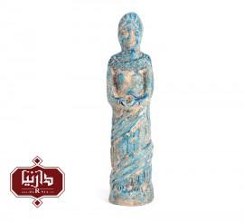 مجسمه سفالی لعاب فیروزه طرح تندیس خدای زن ایلامی