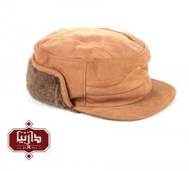 کلاه چرم جیر طبیعی رنگ کرم